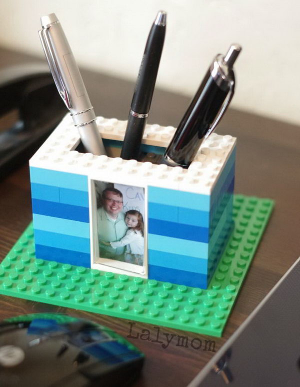 LEGO Photo Pen Holder. If you want to do something interesting for Dad with your LEGO on this Father's day. This kid made LEGO photo pen holder will absolutely inspire you. Learn the tutorial here.