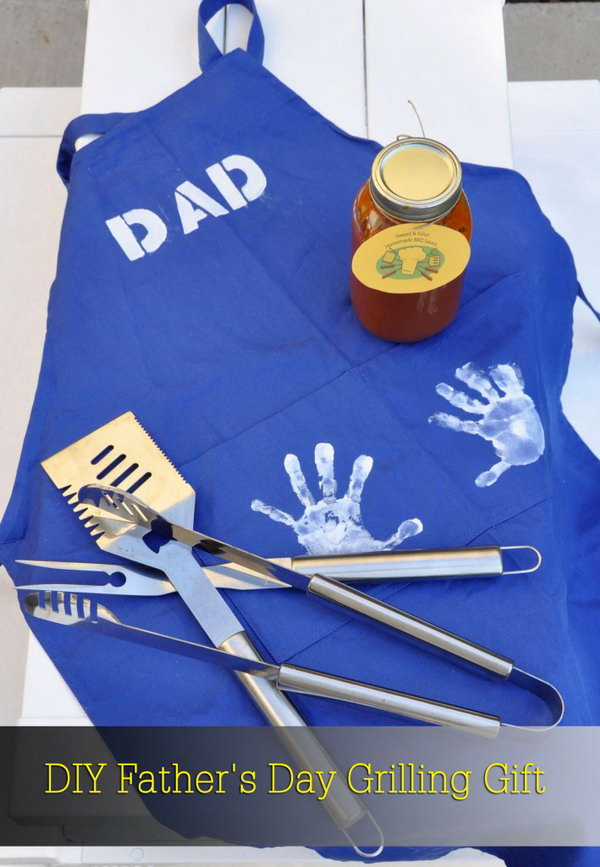 Quick Gift for the Master of Grill. If your Dad likes to grill, let him cook up a storm. And this is a perfect gift that incorporated some of children's personal touches. Learn the tutorial here.