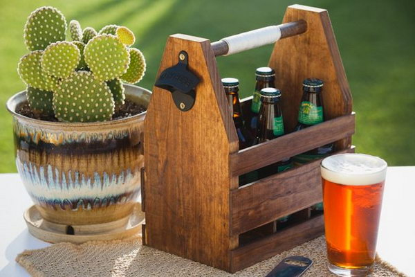 Wood Beer Caddy. This DIY wood beer caddy is great for Daddy's summer BBQS and a personalized gift for this coming Father's day. And I love the wall-mounted bottle opener so much. What you need to do is giving it a lift by decorating this with beautiful colors or drawing. Learn the tutorial here.
