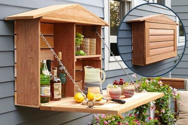 DIY Fold Down Wine Bar.