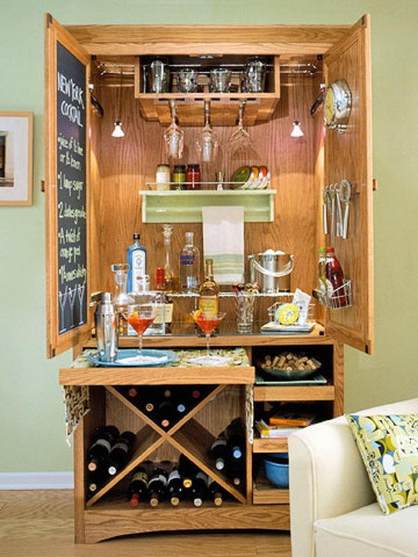Unfinished Storage Cabinet Turned into a Wine Bar.