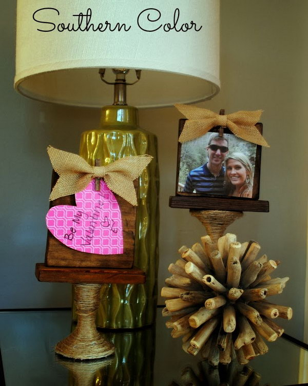 DIY Picture Frames and Message Board. What you need to create this picture frame or message board is a dollar store candlestick and a pack of dollar store twine. This project maybe needs more work, but the ends turns out to be so great. Check the tutorial here.