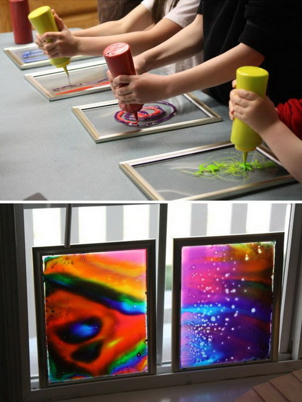 Window Art with Dollar-store Frames. Dollar-store frames are ideal for making window art with glue and food coloring. This is a project that your kids can help and enjoy making. It is super pretty when the light shining through.