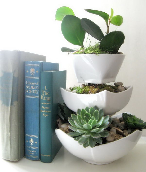 Dollar Store Succulent Planter. Glued clear glasses in between dollar store ceramic bowls in different sizes. Be sure to leave an opening wide enough to insert plants. It doesn't need to spray paint the glasses because they would not be visible once the plants were in.
