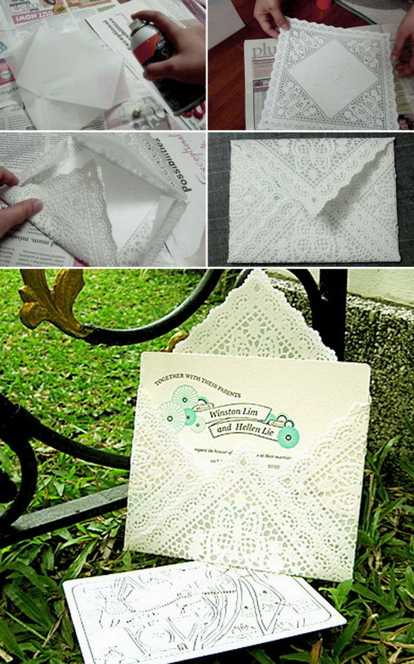 Lace Paper Doily Envelopes Doily Envelopes. Use doilies,tracing paper and an art card to make your wedding invitation envelope prettier and less bulky. Here is a step-by-step direction for your inspiration.