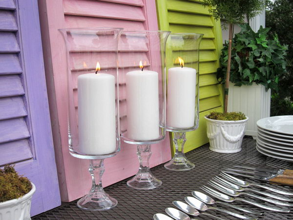 DIY Beautiful Candle Holders. The glass candlesticks can create so many creative crafts. This time, they are paired with glass vases to make beautiful candle holders. You can also paint any color to match your decor.