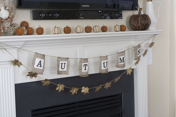 Easy Dollar Store Fall Garland. This is another creative idea to make the decorative garland using the products from your local dollar store. Pick up a bag of fake leaves at the dollar store and paint them in gold leaf. Then glue them to some jute twine with the hot glue gun! So easy! Anyone can do this.