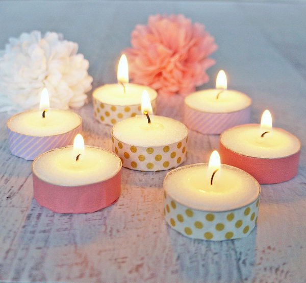 DIY Washi-tape Tea-Light Votives. These pretty and adorable wash tape votives is a great project as a decor for a wedding , party or just as something to decorate your room. You can create them in different colors and styles.