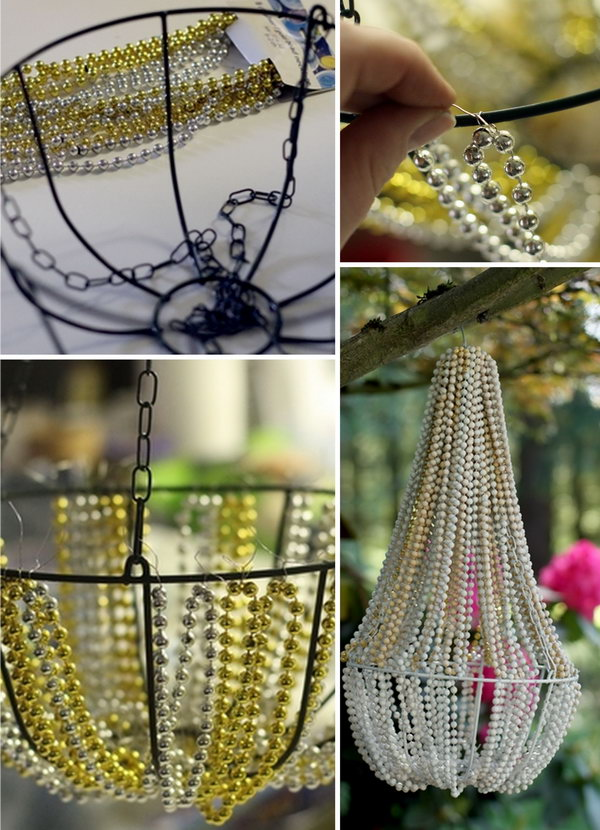 DIY Beaded Chandelier. This lovely beaded chandelier is made from a hanging basket from the dollar store as well as some Mardi Gras-style beads. I like using it as a decor in my backyard. See more details here.