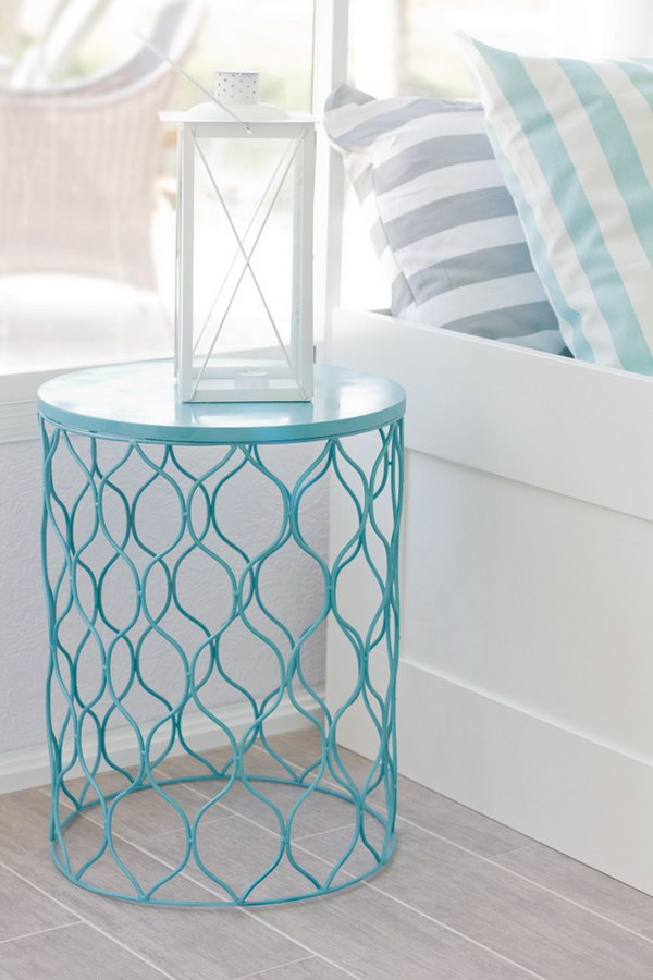Trash Can Night Stand. Get a simple and cheap trash can from the dollar store and paint it in the favorite color and turn it as a unique and custom night stand.