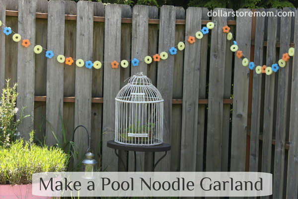 Waterproof Garland Made with Pool Noodle. This pool noodles garland is really an awesome and EASY project. It is a perfect decor to your yard because it's weather proof, plus it adds such a bright and playful element.