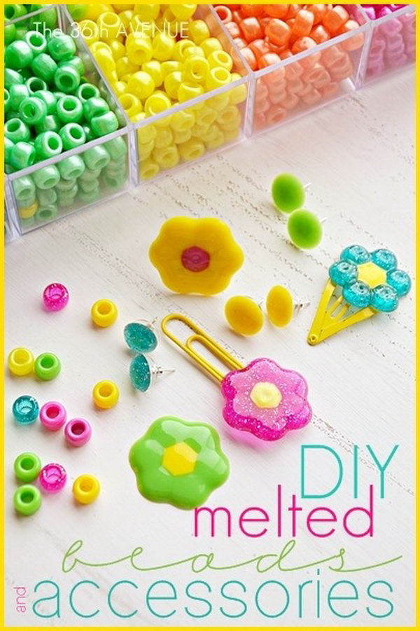 Melted Beads Accessories. These beads are so cheap in the dollar store. You can make a ton of jewelry, bookmarks, hair clips, and even magnets with them in spring colors as cutest party decor or handmade gifts to your lovely daughters.