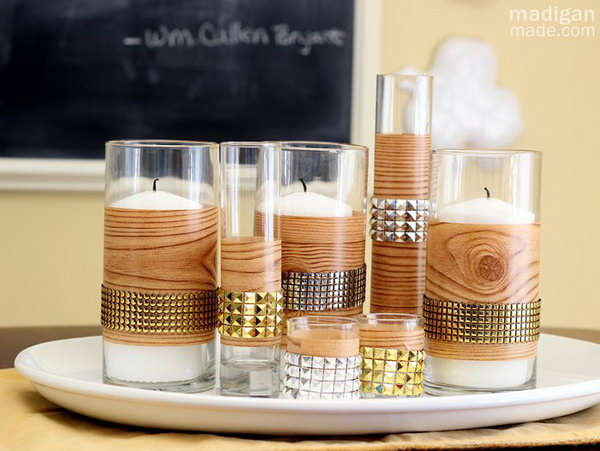 DIY Faux Bois Centerpiece. This centerpiece is pretty simple to make, plus it looks very modern and temporary. Get the tutorial here.