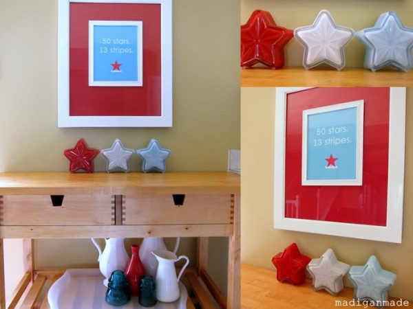 DIY Milk glass Stars. These milk glass stars are made out of dollar store star-shaped candy dishes. They are the perfect patriotic decorative displays in your home.