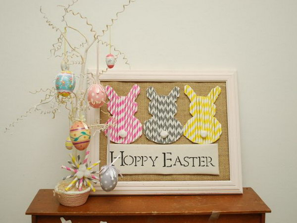 Paper Straw Easter Bunnies. A few inexpensive supplies + a little creativity = festive decorations that you'll want to keep around long after bunny day. Get the tutorial for this craft here.