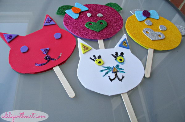 DIY Foam Sheet Puppets. Use glittery and non glittery foam sheets in various colors at the dollar store to create these adorable animal puppets for your little ones. Here is the instruction.