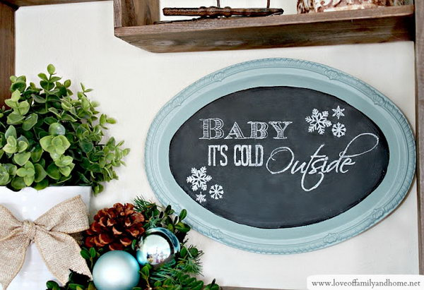 Dollar Store Tray Chalkboard. This chalkboard is a cute and easy project. You can get the materials, a tray and some chalkboard paints, from the dollar store. You can create a group wall hanging with several of these, then spell out an inspirational saying with one work on each chalkboard or have a family center where each member has their own board to leave notes. Here's a tutorial for your reference.