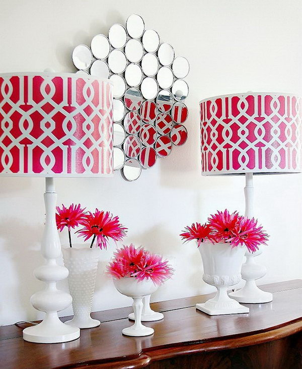 DIY Wall Mirror. The small mirrors from the dollar store can be arranged in any pattern as you like. It will be a perfect wall artwork in your living room.