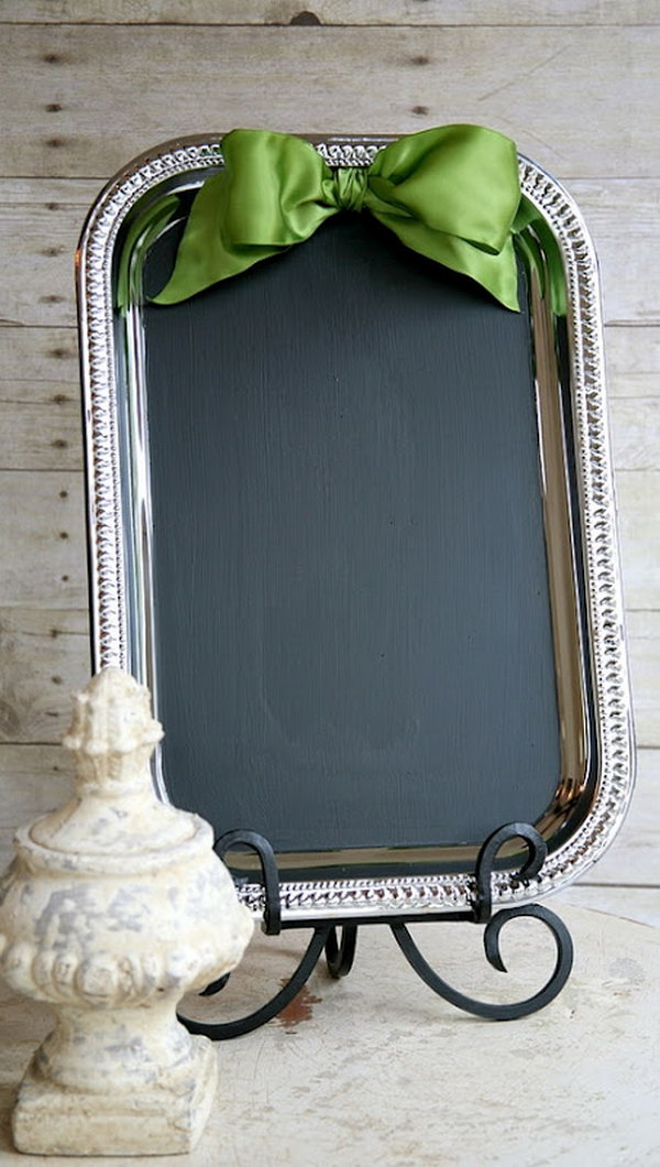 DIY Welcome Board in Wedding. Buy a tray from the dollar store and some chalkboard to glue to the tray , tie a ribbon on top. This will be a wonderful wedding decor to welcome your guests with calligraphy in gold ink pens for a welcome message.