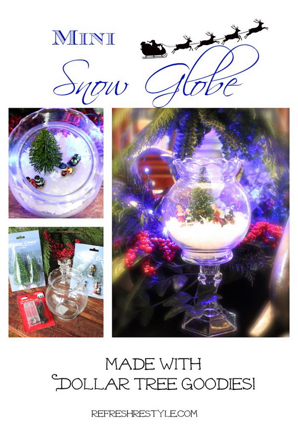 DIY Mini Snow Globe. This is a quick, easy and affordable project yet creates a little winter wonderland on your dinning room table. All you need is a glass candle holder, a mini glass globe, some fake mini decorative trees and mini people. You can buy these materials from your local dollar store. Take salt, sand or anything else white as the fake snow. Here is a step-by-step tutorial for you.
