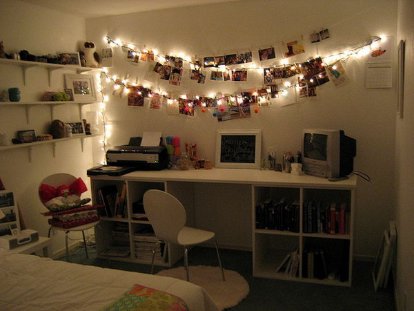 Twinkling Lights Photo Garland. Pin your favorite pictures on the thread, hang twinkle lights to illuminate your photos alongside for a dreamy and soft look.