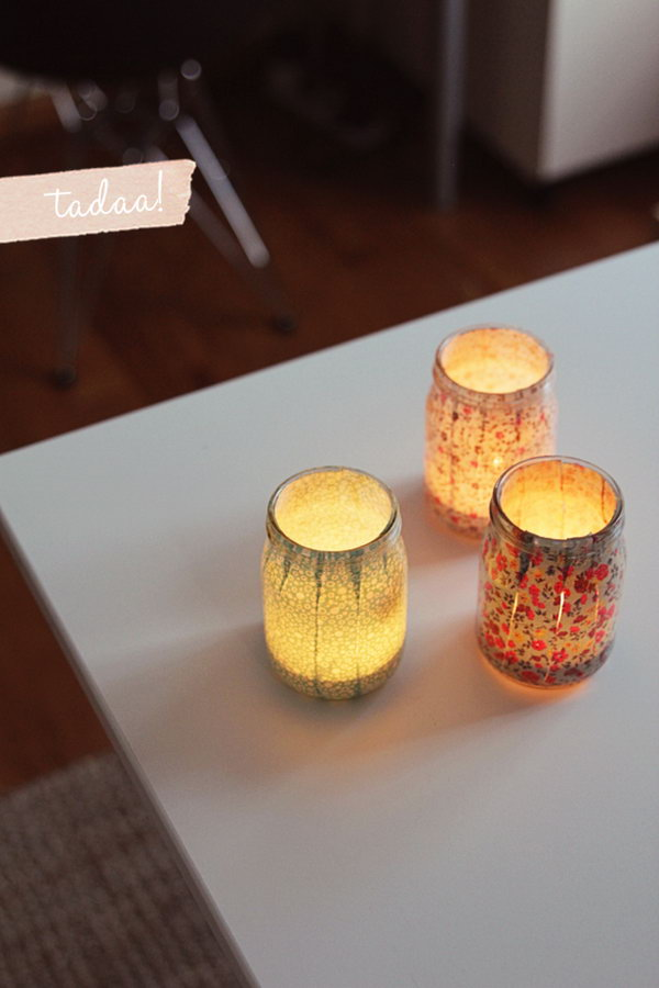 Sweet DIY Votives. Glue patterned stripes inside the mason jar to cover it completely. Place only battery operated tea lights instead of candles to create a dreamy and romantic outlook for your dorm room.