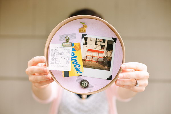 DIY Keepsake Display. Trace circle and trim it out. Squirt glue on the lid and use clip with tale to the collage. Use as many items as possible for beautiful visual effect for girls.