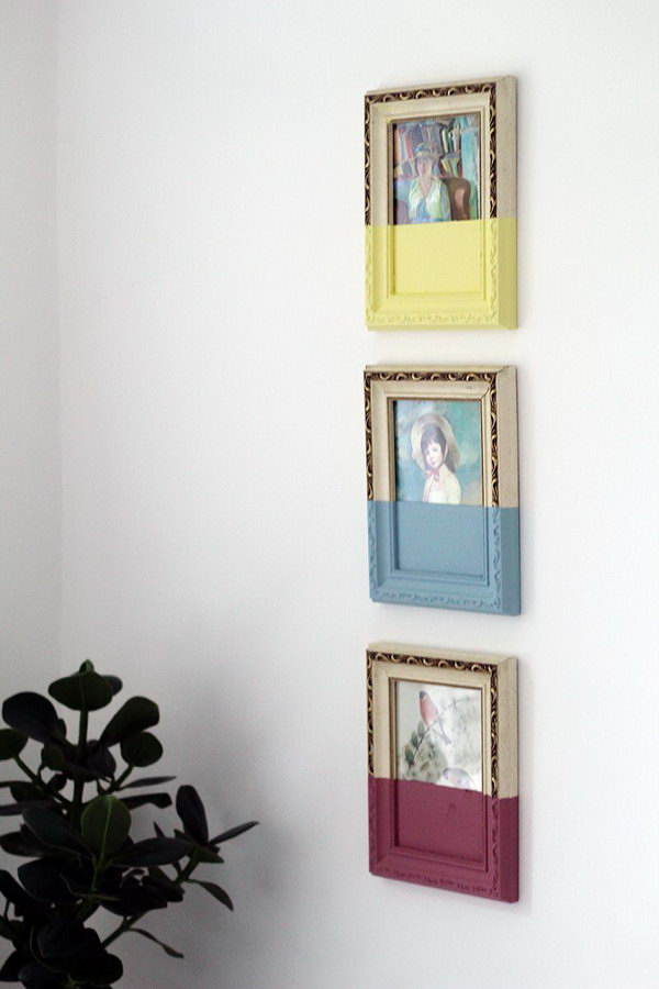 Mask tape in place and paint a coat of paint over the glass and frame, peel off the tape when it is dry, hang the frames to set a stunning visual effect for your dorm room.