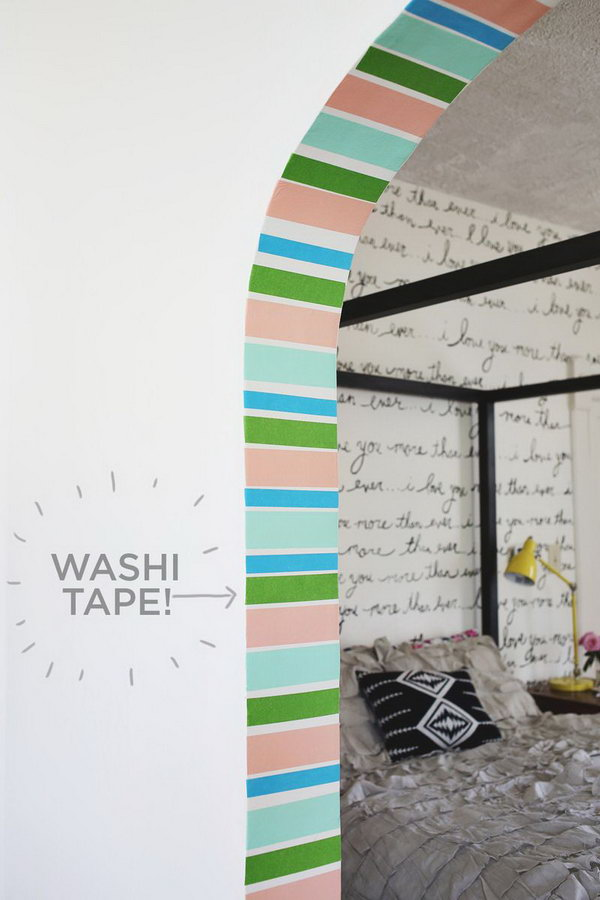 DIY Stripe Doorway. Use rolls of salmon and mint washi tape to garnish your doorway. All you need to do is taping and trimming. It's simple yet it turns out so great.
