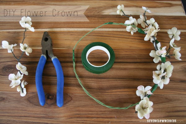 DIY Flower Crown. Get two pieces of stem wire and twist two ends to make a long one. Cut sections of bloom with wire cutters. Attach flowers to the crown with floral tape. You'll get this beautiful spring floral crown for beautiful decor to be a princess.