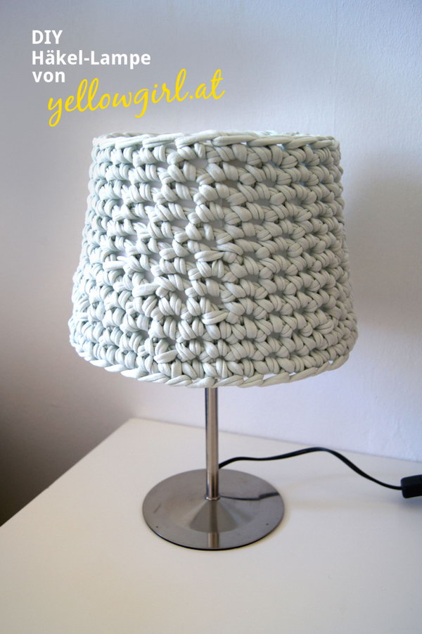 Knotted Lampshade with Old T -shirt. This amazing knotted lampshade from old T-shirt  is a perfect addition to your bedroom. You  might have constant sweet dreams with it on your bedside.
