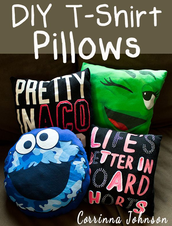 DIY T-shirt Pillow. Using your unwanted old T-shirt to create this beautiful, fun and  personalized graduation  gift for your college  classmates.