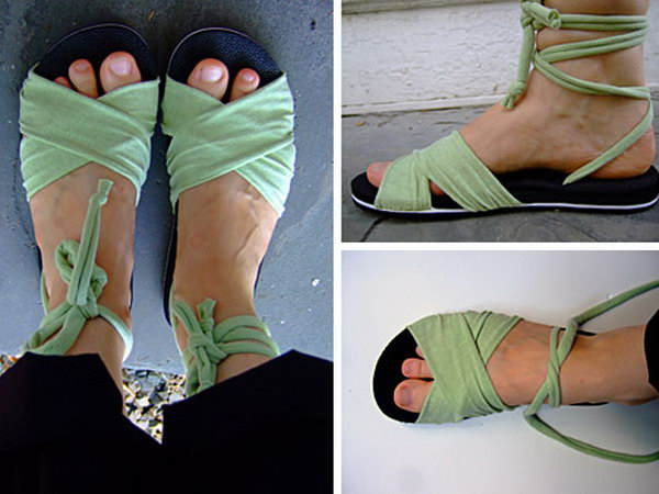 DIY Summer Sandal.Summer is around the corner, sandals will be a necessity in our day. Here I will show you an easy and inexpensive way to make sandals from the old T-shirts.
