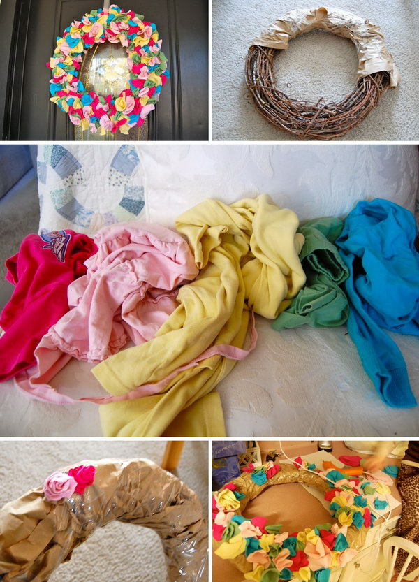 Colorful T-shirt Scarp Wreath. This wreath is made with scrap fabric from the old T-shirt and is fun and beautiful to do in pink, white, red, green or other seasonal colors. It will look great on the wall or door  of a child's or even as a hospital door wreath for the arrival of a new baby.