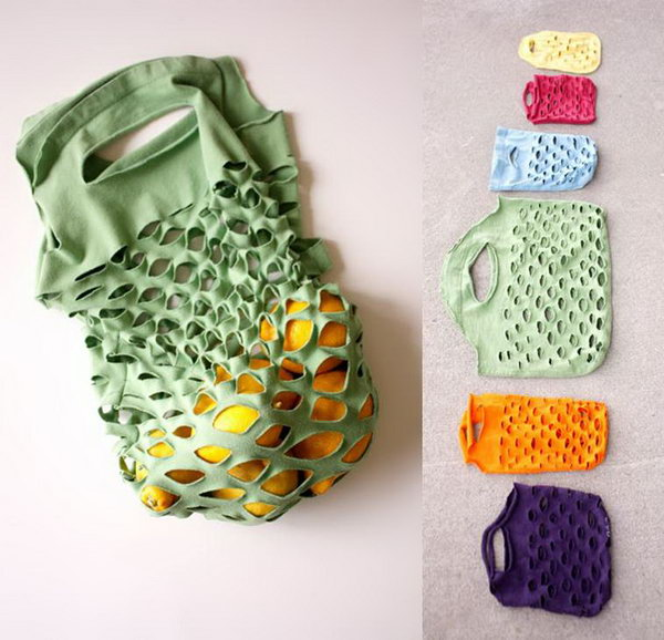 Easy Knit Produce Bag from Old T shirt. It is really easy and require very little sewing to make this reusable produce bag out of an old knit T shirt. You can also make more bags in various shapes ,colors and sizes.