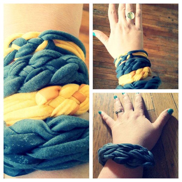 DIY Braided T-Shirt Bracelets. It is pretty fun and easy to make this braided bracelet with an old Tshirt. There are 2 videos here to tell you 2 different types of stylish summer-tastic bracelets using your  old t-shirts.You can learn to DIY one to show off and share with friends.