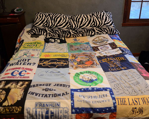DIY T shirt Quilt.Take pieces  with various patterns from your favorite T shirts and then sew them into this amazing quilt. It's so cool to sleep on this quilt with full of the precious memories.