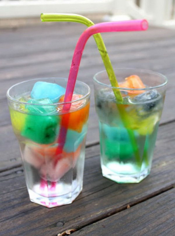 Rainbow Ice Cubes. This fun and caffeine free drink couldn't be more simple to make and is ideal for the kids. You just need to use  different food to create various colors of water. Pour a few of each color into ice cube trays and freeze overnight.