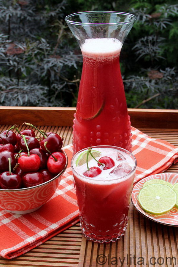 Cherry Limeade. Limeade is as tasty as lemonade.  When  it's mixed with a nice hit of cherry juice ,  a wonderful and cool summer drink born out. Get the recipe here