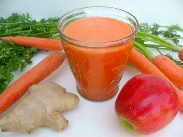 Carrot Apple Juice. This summer drink mixed with vegetables and fruits is rich  in Vitamin A. It's  good for your health.Get the recipe here
