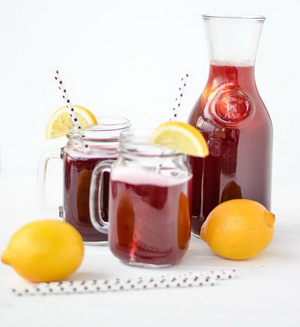 Sparkling Blackberry Lemonade. This fruity lemonade relies on the naturally sweetness of fresh blackberries  mixed with  lemon juice. It improves your healthy living and are easy to make. Get the recipe here