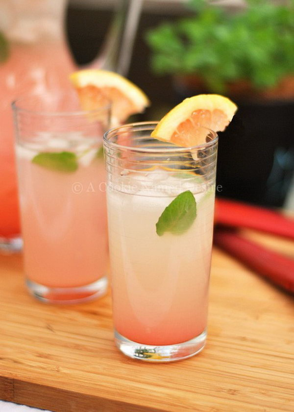Rhubarb Grapefruit Lemonade. This pretty  summer drink brings many of summer's best ingredients together in one vivid glass. Naturally sweet and with all the flavor of bright grapefruit ,rhubarb syrup  and tangy lemons. Get the recipe here