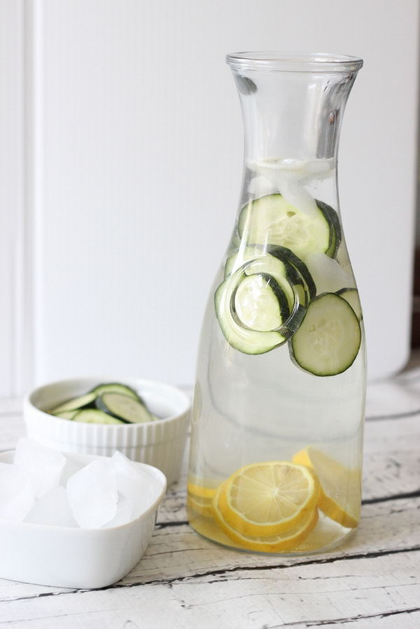 Cucumber Lemonade Water. This light combination of water and cucumber and lemon is tasty and an ideal thirst quencher for summertime sipping. Get the recipe here