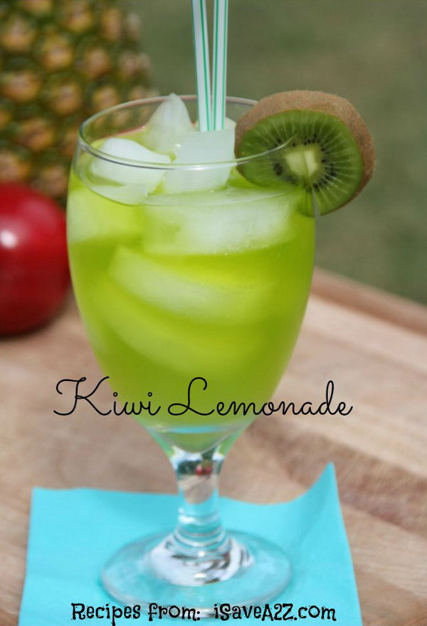 Homemade Kiwi Lemonade Drink. Instructions for the Homemade Kiwi Lemonade Recipe here