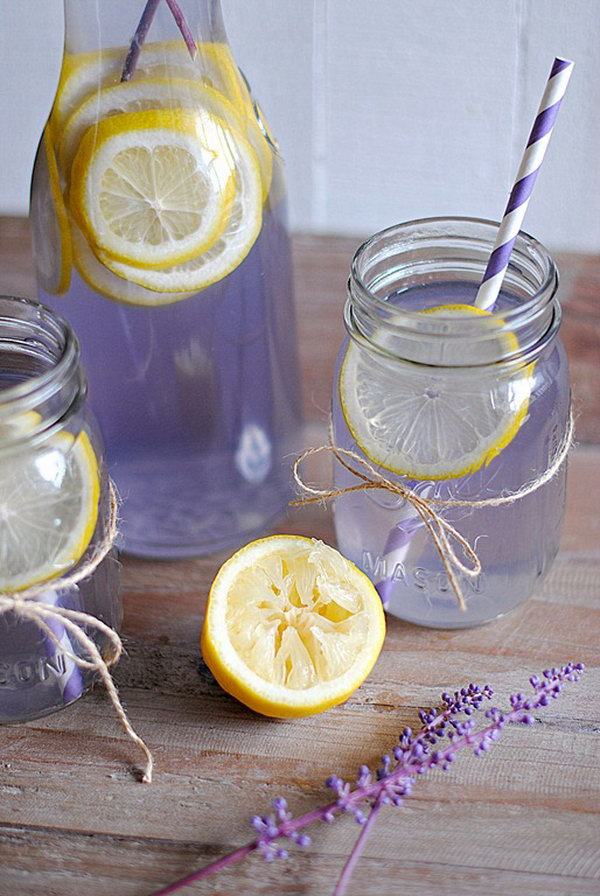 Lavender Lemonade. Get bored with the old fashioned  lemonade water,  you can try to add some stunning colors with  gorgeous lavender.