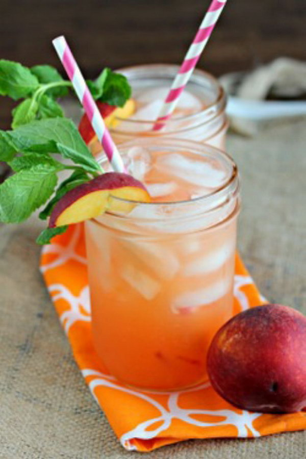 Peach Lemonade. If you love peaches like me , it's a great twist on regular lemonade. Water, chopped peaches, sugar, lemon juice from fresh lemons and mint which is optional are all you need to make this delicious and refreshing summer drink. See directions here