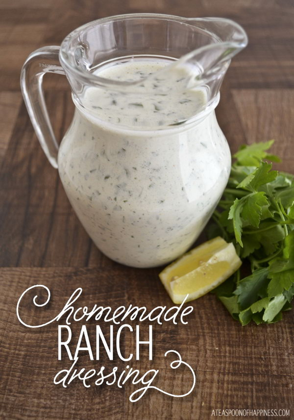 Homemade Ranch Salad Dressing. It takes only 5 minutes to make if you throw everything in a food processor or blender. And its taste s really great .You can have a try for your family party.