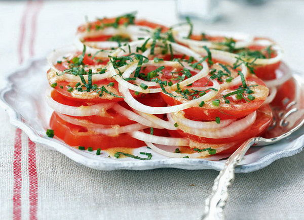 Creole Tomato Salad. Tomatoes are an important ingredient in the summer salad recipes. This simple no-cook and composed salad  is easy to put together with  raw onion and vinaigrette.