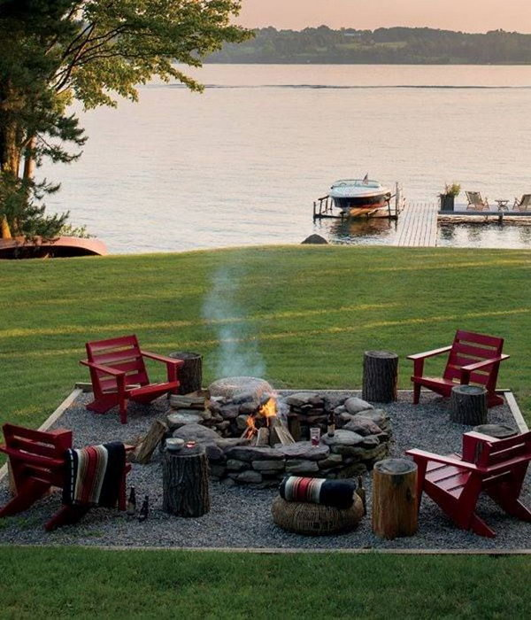 Huge Stone Fire Pit with Organic and Natural Look and Plenty of Seating
