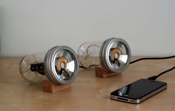 DIY Mason Jar Speaker Set: The versatile mason jar can be turned into many creative crafts and there are many examples on pinterest. Designer Sarah Pease converted these canning jars into a set of iPhone speakers using David Mellis' open source Fab Speakers design files. And they are incredibly stylish. See the tutorial